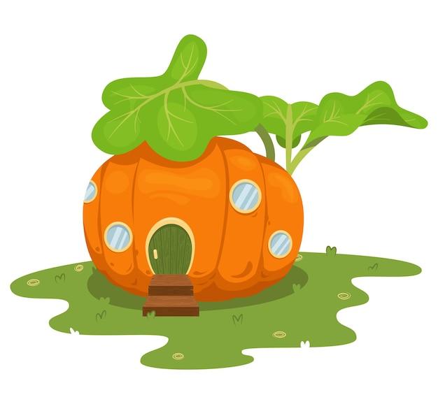 Illustration of cartoon pumpkin house on white
