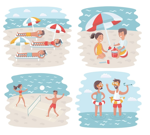 Illustration of cartoon scenes of sunny day in crowded beach