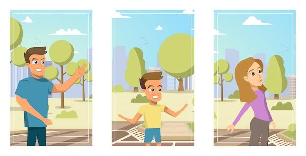 Иллюстрации мультфильм набор портреты члены семьи