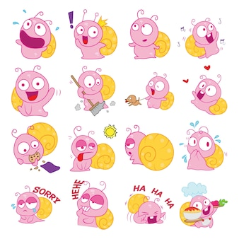 Illustration of cartoon snail set