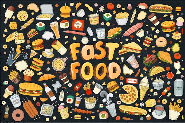 Illustration cartoon style. fast food objects. this collection include hamburger, snack, burger, french fries, barbecue, drinks and other items.