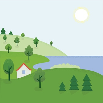 Illustration of cartoon summer landscape of rhe countryside