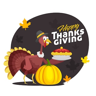 Illustration of cartoon turkey bird holding pie cake plate with pumpkin and maple leaves decorated on black and white background for happy thanksgiving celebration.