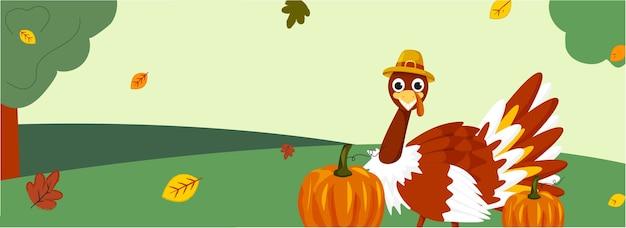 Illustration of cartoon turkey bird wearing pilgrim hat with pumpkins
