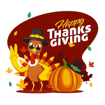 Illustration of cartoon turkey bird with pilgrim hat, pumpkin and autumn leaves on dark red and white background for happy thanksgiving celebration.