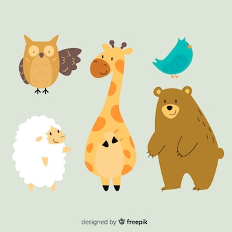 Illustration cartoon wildlife animal collection