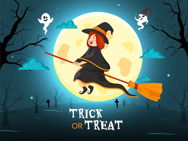 Illustration of cartoon witch flying with her broom and ghosts on full moon teal blue background for trick or treat.