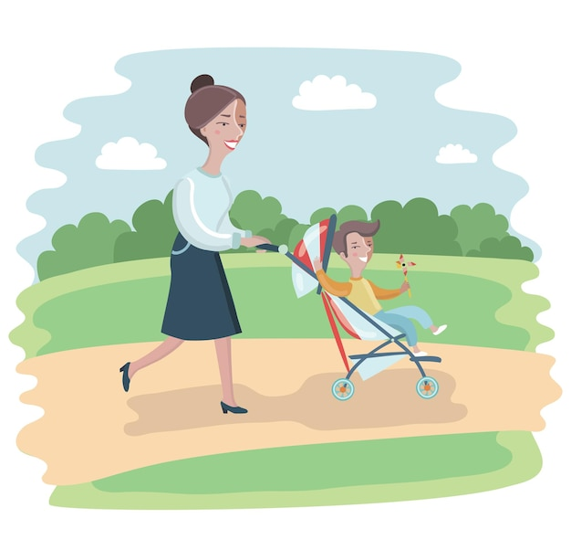 Illustration of cartoon woman walking in the park with a stroller and child