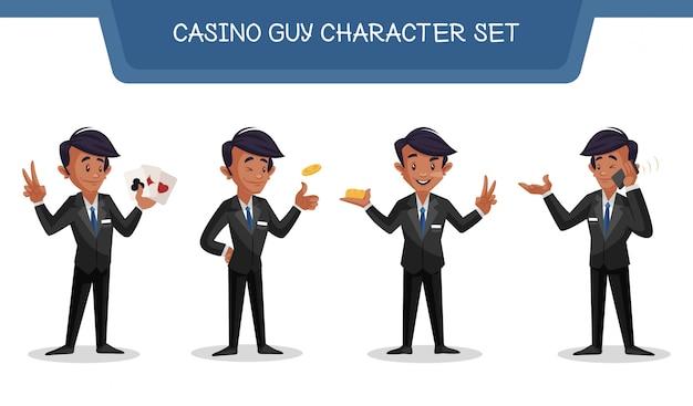 Illustration of casino guy character set