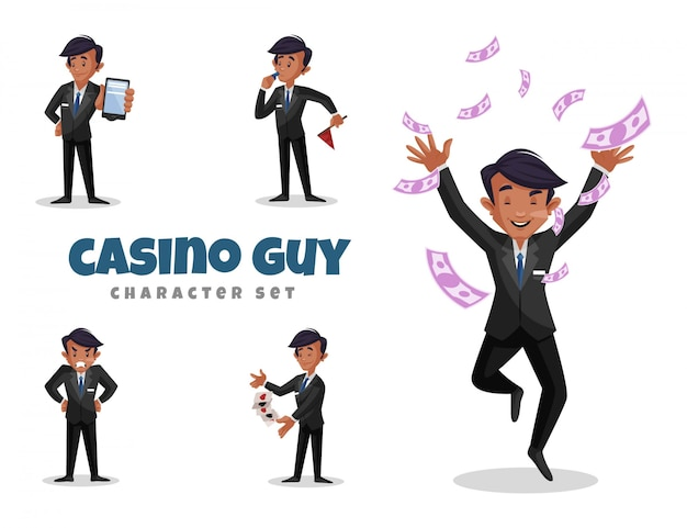 Illustration of casino guy character set