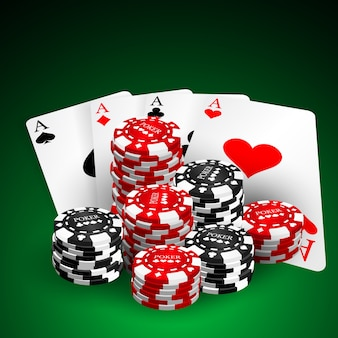 Illustration on a casino theme with playing chips and playig cards on dark background. gambling design elements. four aces and  poker chips stack.