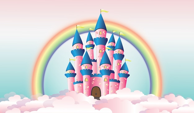 Illustration of castle among the clouds with rainbow on the background