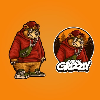 Illustration of casual grizzly bear