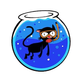 Illustration of cat in aquarium