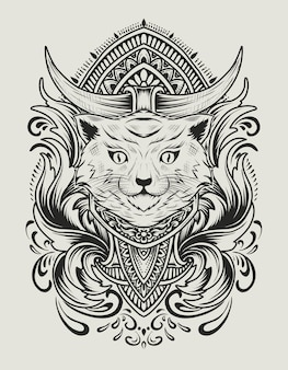 Illustration cat head with vintage engraving ornament