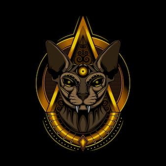 Illustration cat pharaoh sphinx