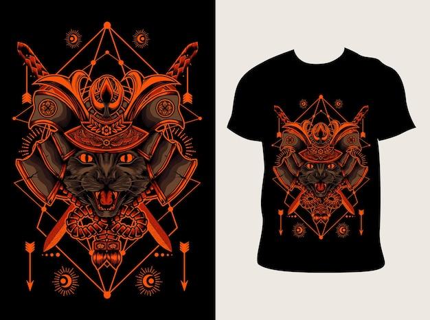 Иллюстрация голова кота самурая с дизайном футболки