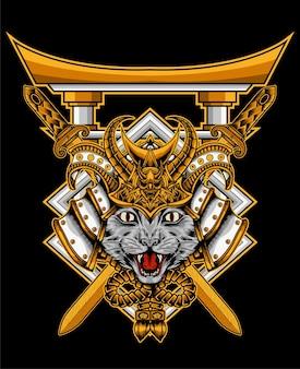 Иллюстрация голова кота самурая с воротами тории