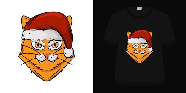 Illustration cat santa hat for tshirt design