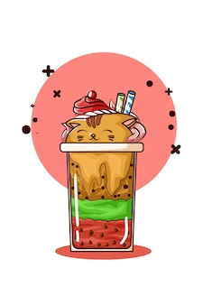 Illustration of cat shaped ice cream