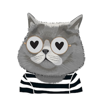 Illustration of cat wearing glasses fall in love