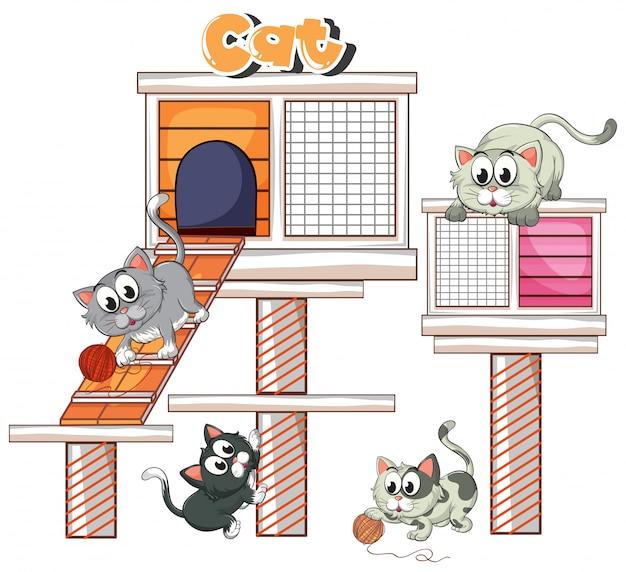 猫の家で遊ぶイラスト猫