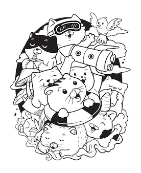 Illustration cats in the trash doodle