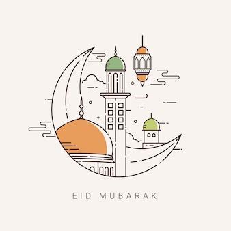 Illustration for the celebration of eid mubarak with line art design