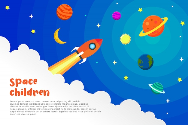 Illustration of a celestial atmosphere with a child's art style