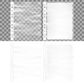 Illustration of cellophane business form pocket mock up. document protector and blank white a4 paper sheet in transparent plastic sleeve.