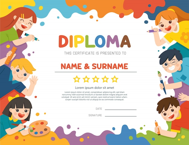 Illustration of certificate kids diploma, cute children have fun and ready to get painting together.