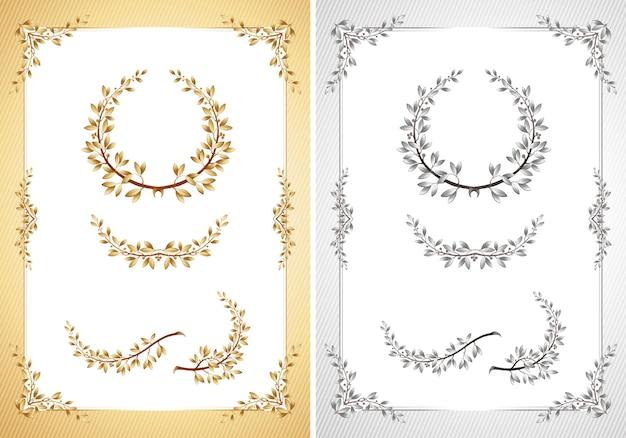 Шаблон сертификата иллюстрации с элементами дизайна лавра