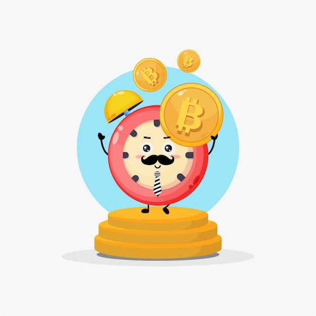 Illustration of character alarm clock having bitcoin