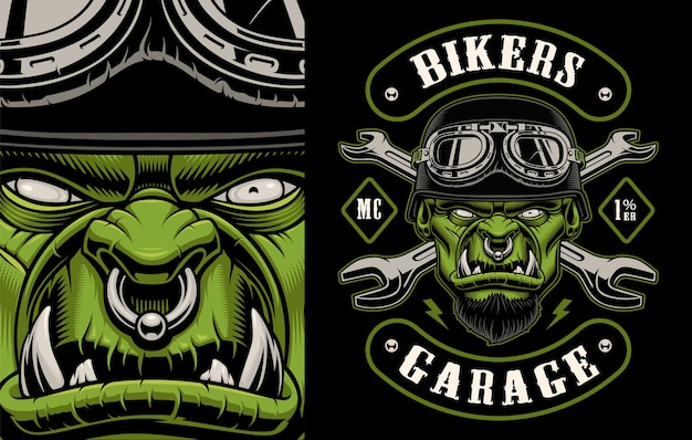 Illustration of a character biker with crossed wrenches on the dark background. layered, text and other elements are on the separate groups.