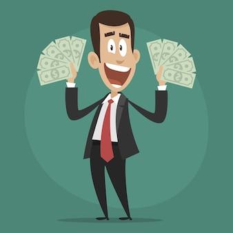 Illustration, character businessman happy holds dollar bills, format eps 10