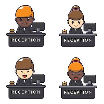 Illustration character of cute receptionist