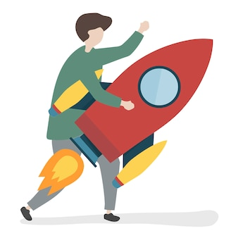 Illustration of a character holding a rocket