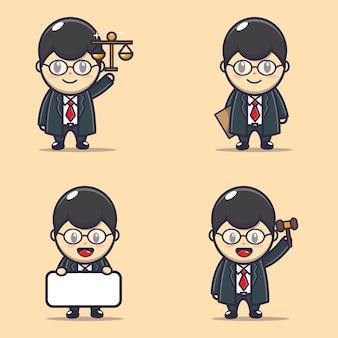 귀여운 변호사의 일러스트 캐릭터 세트