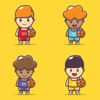 Набор иллюстраций милого баскетболиста