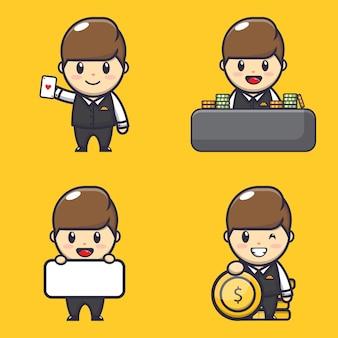 かわいいギャンブラー少年のイラストキャラクター