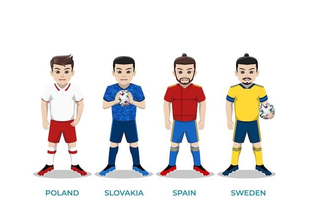 Иллюстрация персонаж футболиста для чемпионата европы