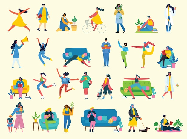 Illustration character set of smart business woman in various activities