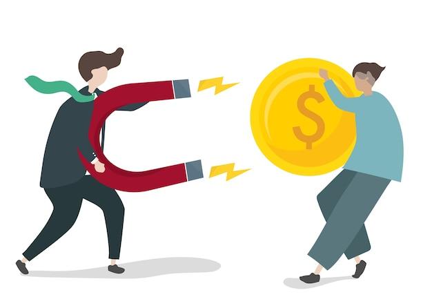Illustrazione del personaggio con il concetto di investimento aziendale