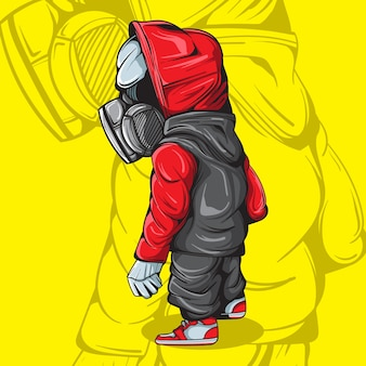 Illustration of character with gasmask and urban streetwear