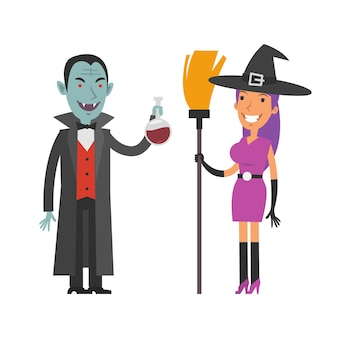 Illustration, characters dracula and witch, format eps 10