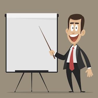 イラスト、陽気なビジネスマンがチャートを反転するようにポイントし、eps10をフォーマットします