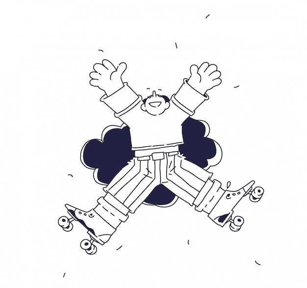 Illustration of a cheerful character on roller skates