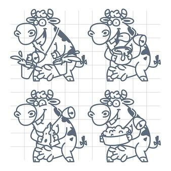 Иллюстрация веселая корова показывает молочные продукты, молоко, сметану, сыр, творог