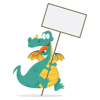Illustration cheerful dragon holds in hands blank board, format eps 10