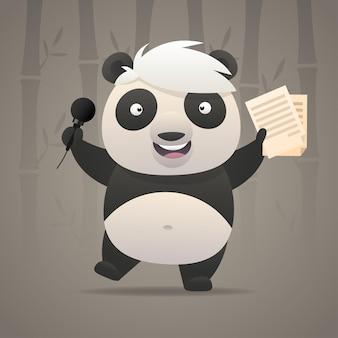 Иллюстрация, веселая панда поет песни и танцы, формат eps 10